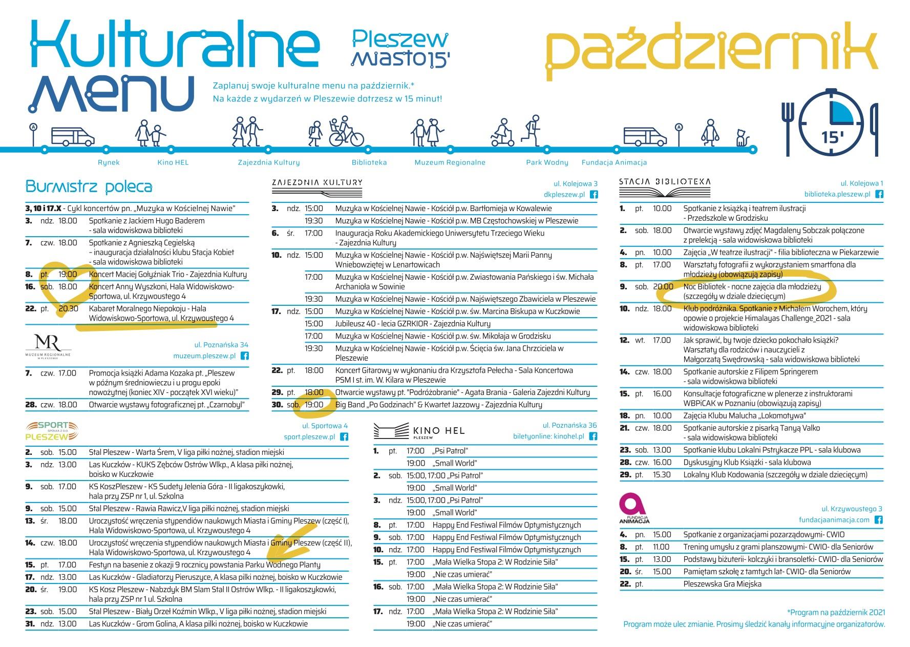 Harmonogram wydarzeń kulturalnych i sportowych na październik 2021 r.