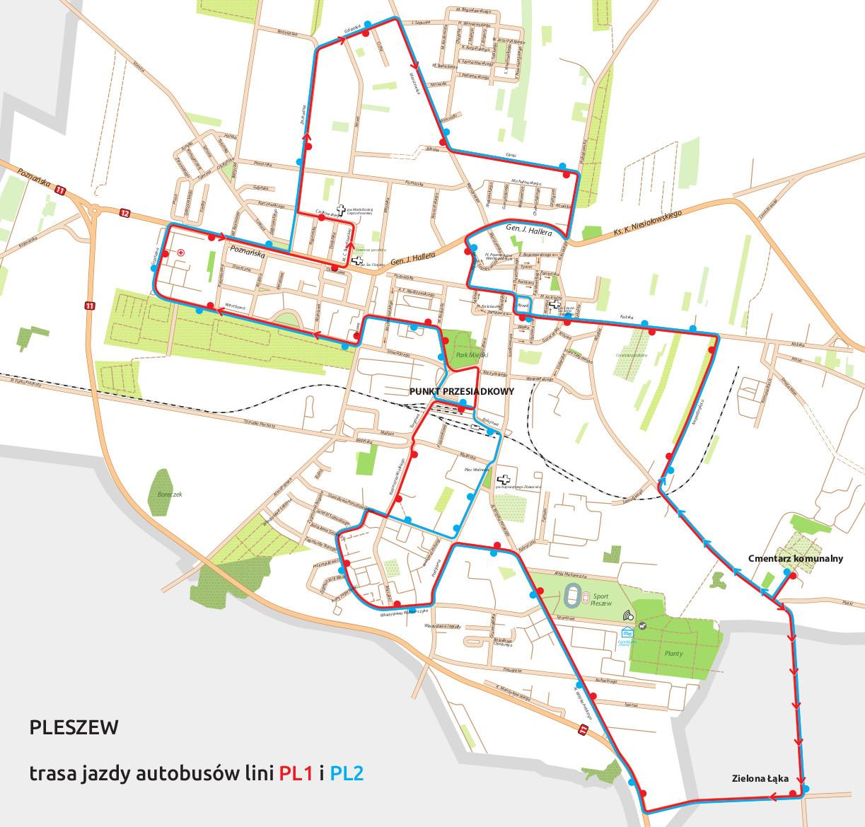 Grafika przedstawia przebieg trasy autobusów na mapie miasta