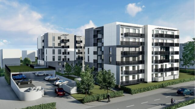 Wizualizacja dwóch budynków mieszkalnych wraz z zagspodarowaniem terenu przy ul. Mieszka I i Ponatowskiego