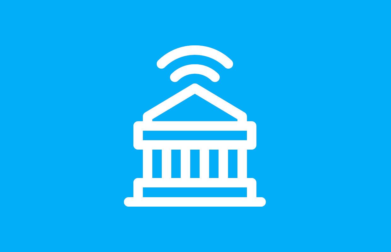 Obrazek przedstawia ikonę symbolizującą sesję rady miejskiej on line